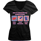How To Celebrate Fourth of July Grill Meat Fireworks Beer Juniors V-neck T-shirt