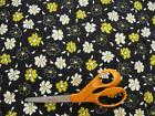 Vintage Flower Floral Fabric-Apparel/Quilt Weight-White-Blk-Yellow