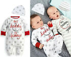 Hot Baby Boy Girl Mum Dad Funny Newborn Infant Romper Hat Sleepsuit Outfits Set