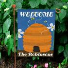 Personalized Bee Hive Garden Flag Family Name Beehive Welcome Flag Banner Decor