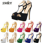 ZriEy Womens High Heels Sexy Peep Toe Platform Stiletto Ankle Strap Courts Shoes