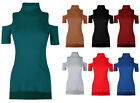 Ladies Ribbed Polo Neck Womens Cut Out Sleeve Stretch Turtle Jersey Step Hem Top