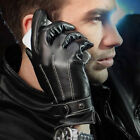 Winter Mens Black Faux Leather Cashmere Lining Gloves Driving Cycling Outdoor