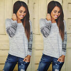 Autumn Womens Long Sleeve Shirt Casual Lace Blouse Loose Cotton Tops T Shirt