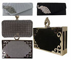 Ladies Diamante Party Prom Bridal Evening Clutch Box Hand Bag Purse Handbag