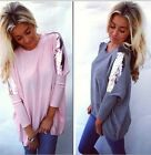 Sexy New Fashion Women Loose Long Sleeve Cotton Tops Shirt Casual Blouse T-shirt