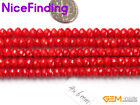 """Rondelle Faceted White Pink Red Coral StoneJewelry Making Design Beads 15""""4x6mm"""
