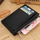 Men's Solid Genuine Leather Zipper Coin Wallet Credit Card Holder Clutch Purse