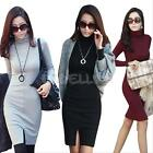 Women Autumn Winter Knit Casual Work Long Sleeve Sweater Slim Bodycon Dress NEW
