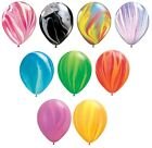 """Pack of 5 Qualatex 11"""" SuperAgate/Marble Rainbow Party Balloons - Helium or Air"""