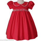 Emily Elegant Red Christmas Smocked Girls Dress Lace, Coordinated Siblings 17967