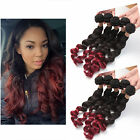 Ombre Red 100g 1/2/3Bundle Loose Wave 18'' Human Hair Weave Weft Hair Extensions