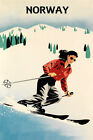 Norway Lady Ski Skiing Race Winter Sport  Alps Vintage Poster Repro FREE S/H