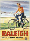 Raleigh All Steel Bicycle Bike Airplane Plane USA Vintage Poster Repro FREE S/H