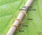 18K gold & 925 silver Endless Seamless Nose Hoop, Brow, Ring,Sleeper,Septum,