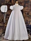 Girls WHITE Embroidered Smocked COTTON  Broadcloth HANDMADE Christening Gown