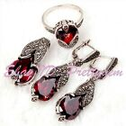 Pretty Drip Red CZ Crystal Tibetan Silver Marcasite Classical Wedding Jewelry