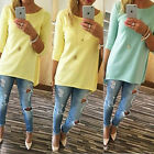 Women Ladies Loose Pullover T Shirt Long Sleeve Cotton Tops Shirt Blouse UK 6-16