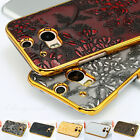 Deluxe Vintage Chrome PC Flower Pu Leather Skin Cover Hard Case for HTC One M8
