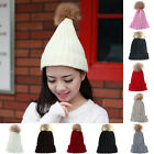 Winter Pom Beanie Tone Color Plain Cap Skull Hat Ski Knit Warm Cuff Cap YS