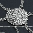 1,2,3,4,5,6 Pizza Slice Charm Pendant Chain BFF Friendship Necklace Sets Gift