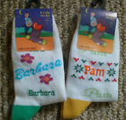 NEW COLOURFUL GIRLS LADIES PERSONALISED NAMED SOCKS WHITE ONE SIZE
