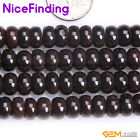 """Natural Smooth Faceted Red Garnet Rondelle Gemstone Beads For Jewelry Making 15"""""""