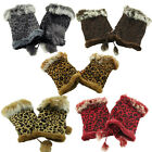 Ladies Leopard Print Faux Suede Fur Fingerless Lined Mittens Gloves Hand Warmers