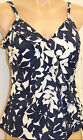 *NEW Carribbean Joe Swimwear Ruffle Blue White Tankini Top Size 16 CC1