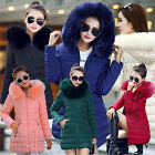 Womens Winter Coat Jacket Down Padded Fur Collar Warm Long Hooded Outwear