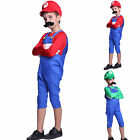 Kids Super Mario & Luigi Bros Fancy Dress Plumber Game Costume Boys New Outfit