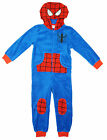 Boys Marvel Spiderman Face Hooded Fleece All in One Sleepsuit 4 to 10 Years