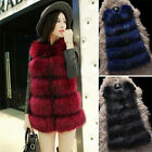 Best Quality Modern Lady Fake Fur Vest Long Gilet Round Neck Multi-Color Warm