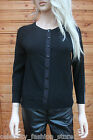 Karen Millen Black Sheer Panel Popper Evening Dress Cardigan Knit Jacket 8 - 10