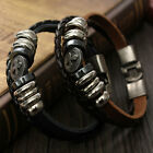 Cool Metal Cross Studded Surfer Leather Bracelet Mens Wristband Cuff Bangle Gift