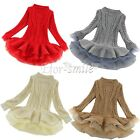 GIRLS Baby Toddler Kid's Long Sleeve Knitted Woolen Organza Dress Outfits Gifts