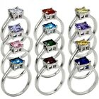 Size 3-12 925 Sterling Silver Birthstone Ring Wedding Birthday Children Daughter