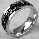 Rotatable Silver Black Gold Chain Stainless Steel Men's Band Ring Christmas Gift