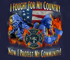 Fire Fighter Fought Now Protect NAVY Adult T-shirt