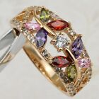 Size6 7 7.5 8.5 Beauty Butterfly Colorful CZ Jewelry Rose Gold Filled Ring R2303