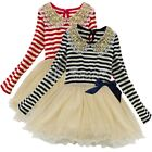 Baby Girl Sequins Lace Collar Striped Dress Kids Party Wedding Pegeant  Dress