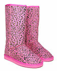New Ladies Womens Faux Suede Fur Lined Leopard Animal Print Boots Sizes 3-8