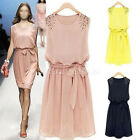 Womens Summer Casual Floral Sleeveless Party Evening Cocktail Short Mini Dress