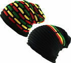 Rasta Reggae Oversized Pull On Slouch Beanie Cap Hat - Striped - Mosaic