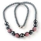 "Fashion Resin Black Hematite Pave Crystal Round Beads Necklace 19""L Women Girl"