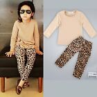 Toddler Kids Baby Girl Outfits Clothes T-shirt Tops Dress+Leopard Pants 2PCS Set
