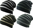 Chunky Stripe Panel Rib Slouch Pull On / Neck Face Scarf Snood Beanie Cap Hat