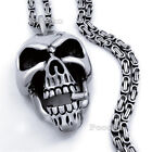 5mm Mens Silver Byzantine Box Chain Skull Cigar Stainless Steel Pendant Necklace