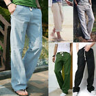 Men's Loose Soft Slacks Straight Cotton Linen Trousers Casual Drawstring  Pants