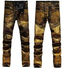 men catwalk shiny golden coated oiled stretch slim black biker washed jeans 913
